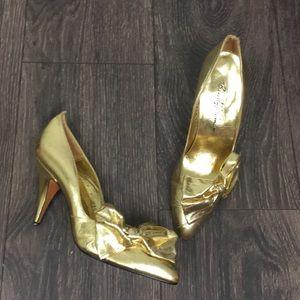 Beverly Feldman Gold Foil Bow Pumps